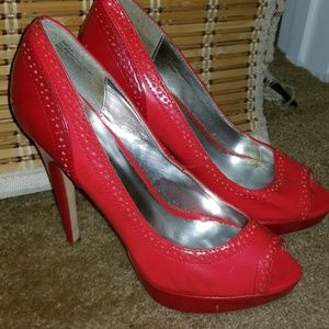 JustFab Coral/Red Platform Peep Toe Stiletto